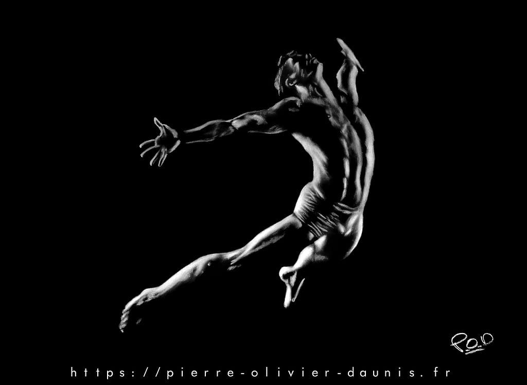 tableau peinture moderne de danseur au pastel
