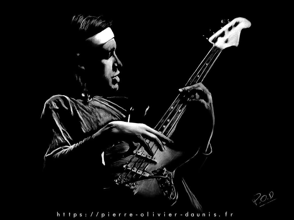 Bass player modern painting