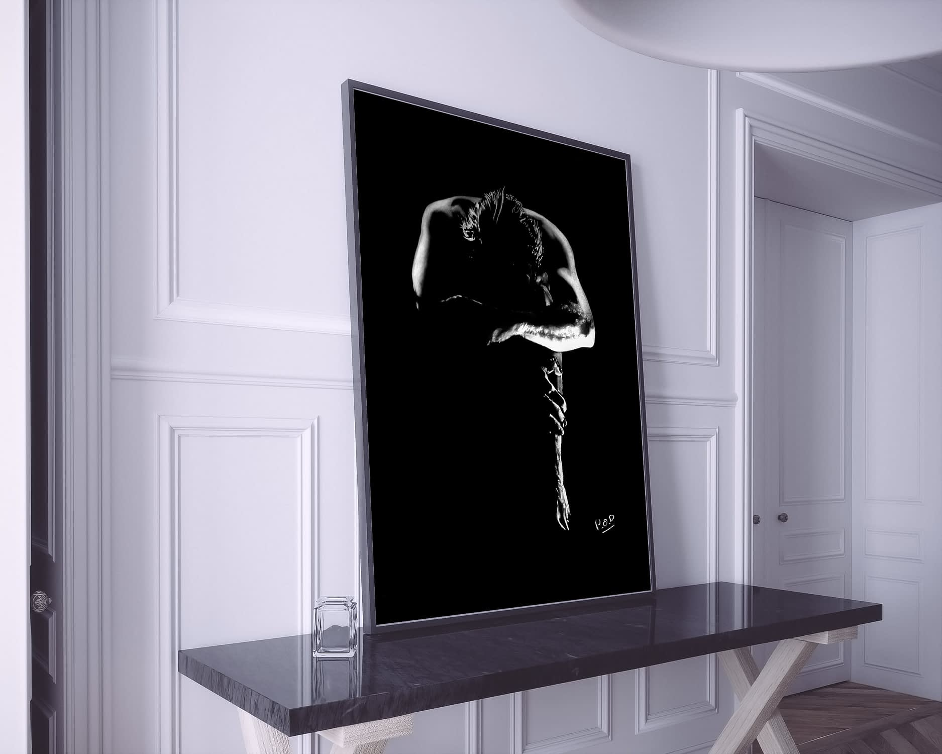 Modern painting of a beautiful naked man in black and white style.