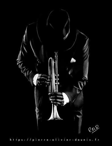 tableaux de musique et de musiciens: american jazz trumpet player