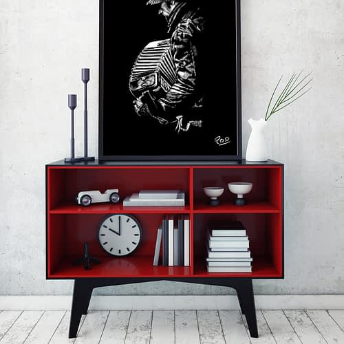 L'accordéoniste : Tableau de musique accordéoniste 2 au pastel sec. Accordionist musician modern painting