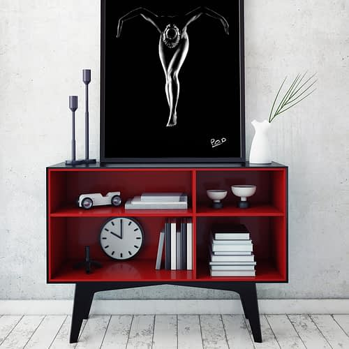 tableau moderne danseuse nue 56 au pastel sec naked dancing woman painting