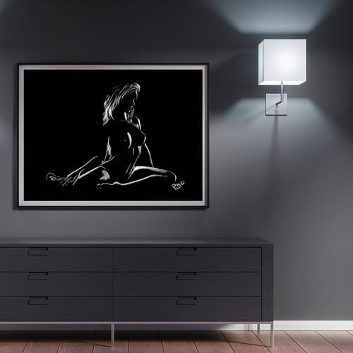 tableau moderne de femme nue 79 au pastel sec nude woman painting