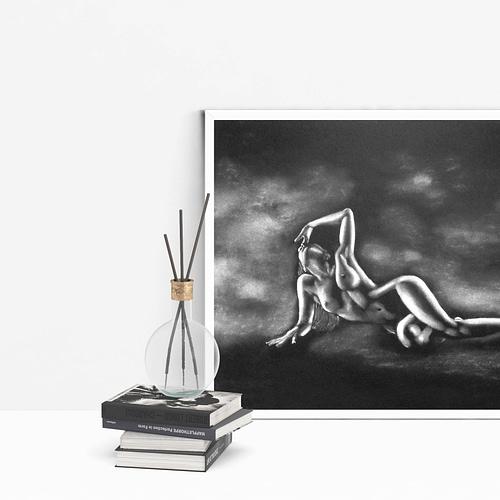 Peinture moderne de femme nue allongée 29 au pastel sec