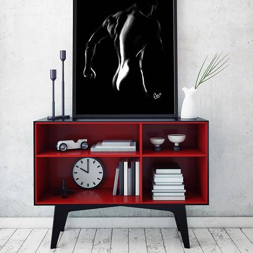 nu artistique masculin – tableau moderne d'homme nu 10 au pastel sec