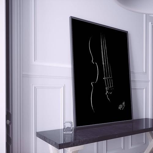 Peinture moderne de violon au pastel sec. Violin modern painting