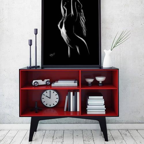 Silhouette de femme nue peinture 28 au pastel sec. Nudity modern art contemporary déco