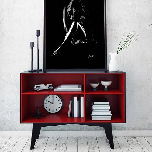 tableau moderne femme nue accroupie 41 au pastel sec