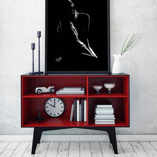 woman modern pastel painting – tableau de femme rêveuse nue 34
