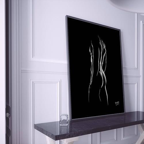 nu artistique masculin – tableau moderne d'homme nu 8 au pastel sec