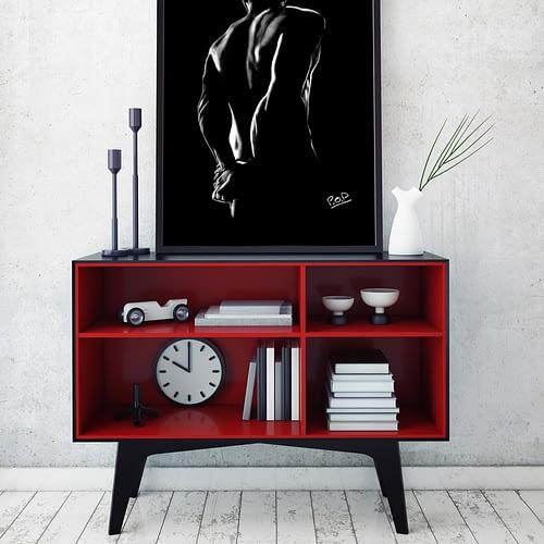 nu artistique masculin – tableau moderne d'homme nu 1 au pastel sec