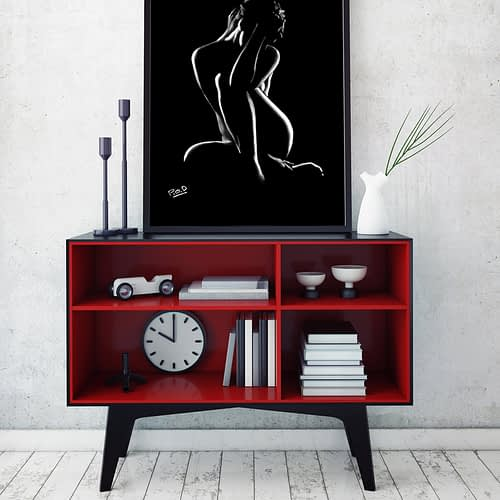 tableau moderne de femme nue 55 au pastel sec nude woman painting