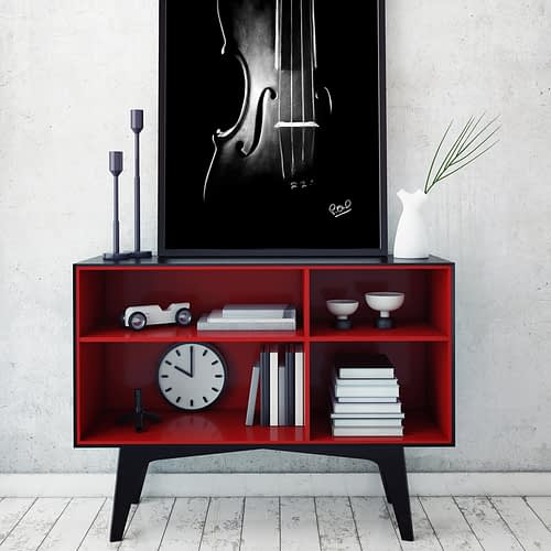 Violon au pastel sec 2. Violin modern painting