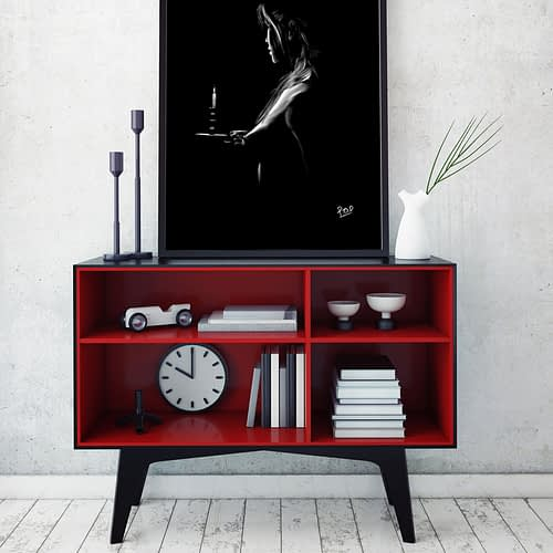 tableau moderne de Silhouette de femme 96 au pastel sec nude woman painting