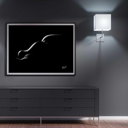tableau moderne de Silhouette de femme 98 au pastel sec nude woman painting