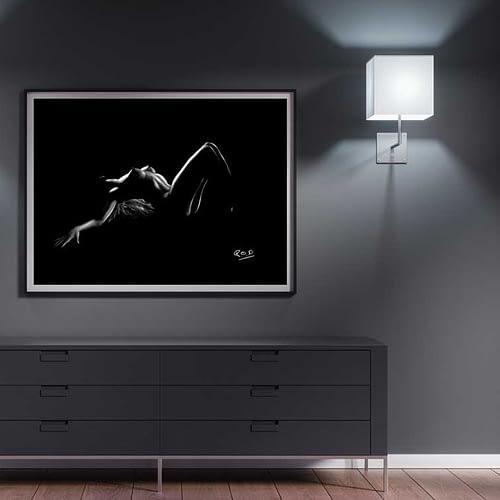 tableau moderne de Silhouette de femme 100 au pastel sec nude woman painting