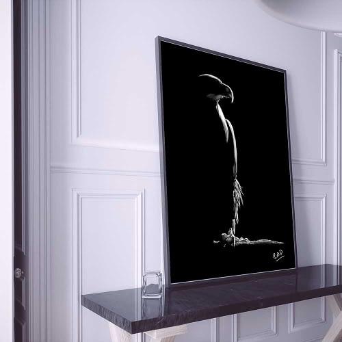 oiseau de proie en peinture