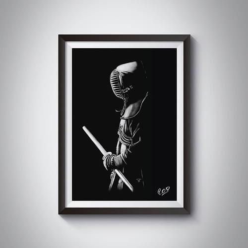 Painting  kenshi kendoka – samourai kendo – decoration design – pastel – modern athletic painting – fine art – peinture sportif – 50X70cm