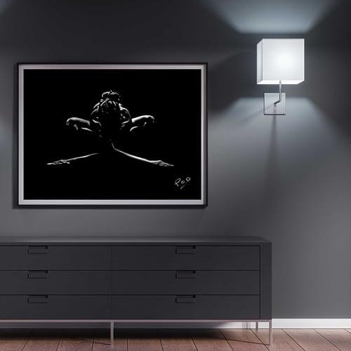 tableau peinture moderne de yoga pastel painting