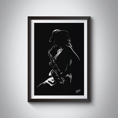 La saxophoniste : Tableau de musique – femme saxophoniste au pastel sec. Saxophonist woman modern painting