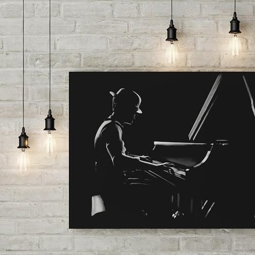 Le pianiste : Tableau de musique – pianiste au pastel sec. pianist modern painting