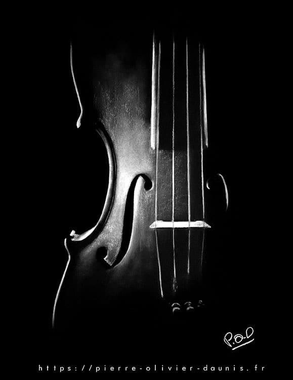 tableau pastel musique violon