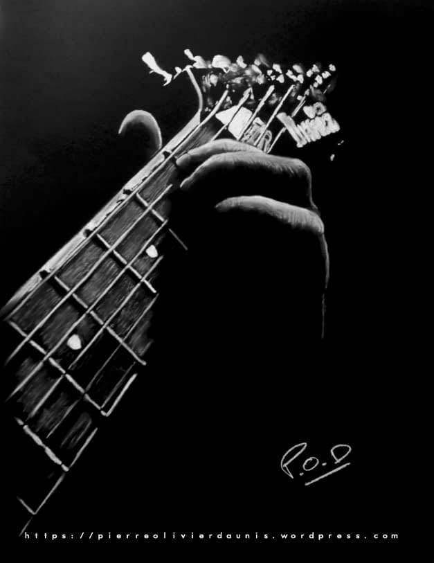Tableau de guitariste 1 . ibanez guitar painting by POD