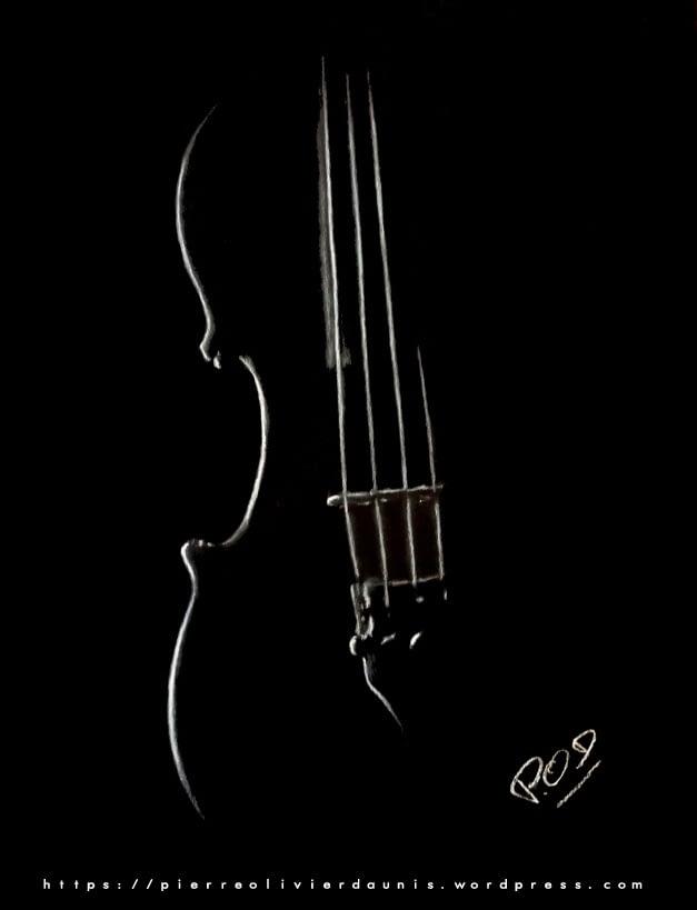 Peinture moderne de violon au pastel violon violoncelle peinture