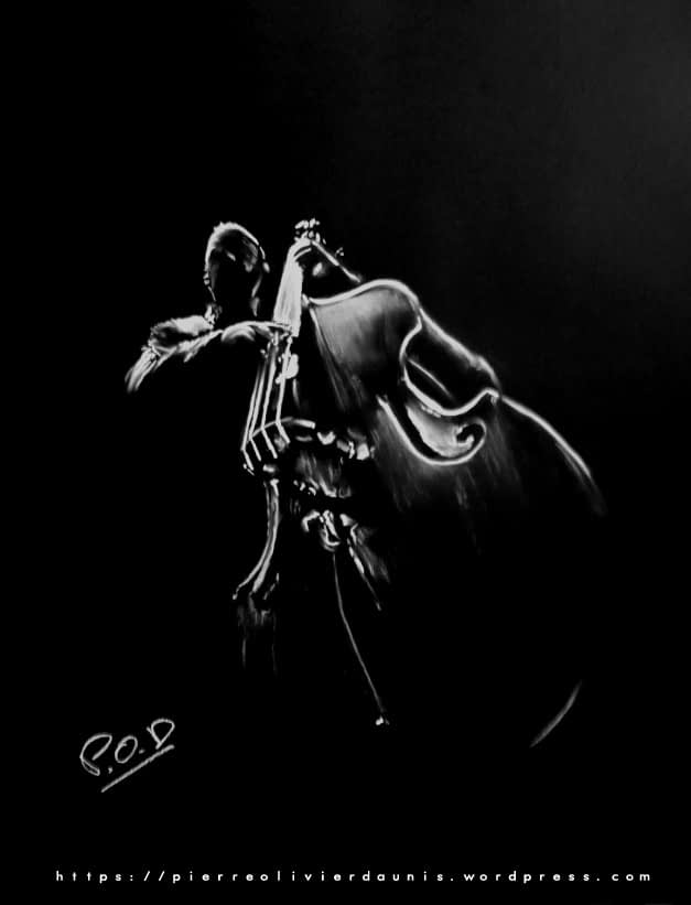 Contrebassiste en contreplongée peinture jazz musician painting