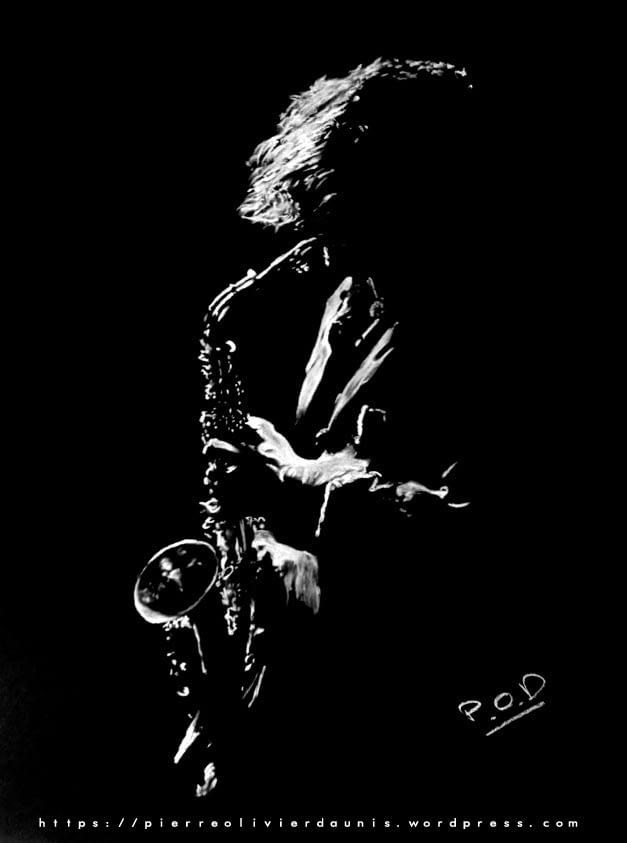 Le saxophoniste : Tableau de musique 1 soxophonist painting