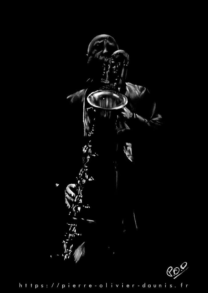 Le saxophoniste 5 : Tableau de musique - saxophoniste au pastel sec. Saxophonist jazz modern painting