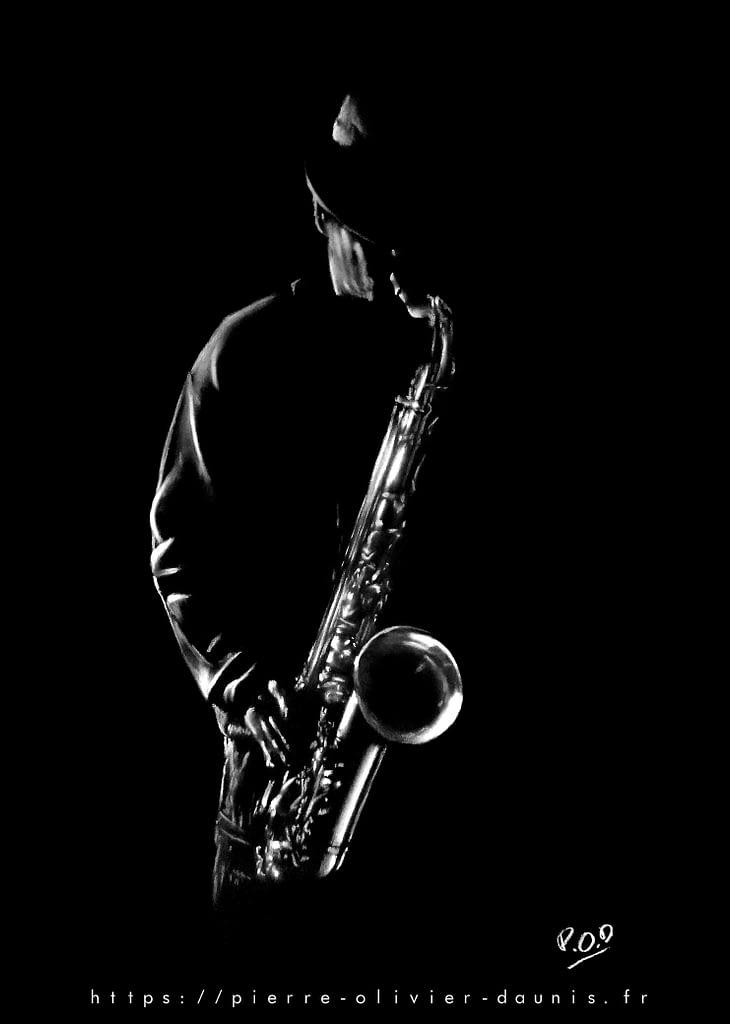saxophonist painting