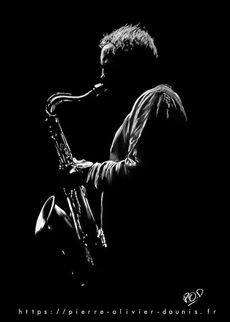 Le saxophoniste 4 : Tableau de musique - saxophoniste au pastel sec. Saxophonist jazz modern painting