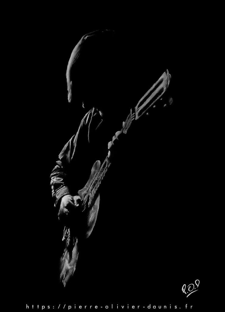 Tableau de guitariste 4 blanc sur fond noir