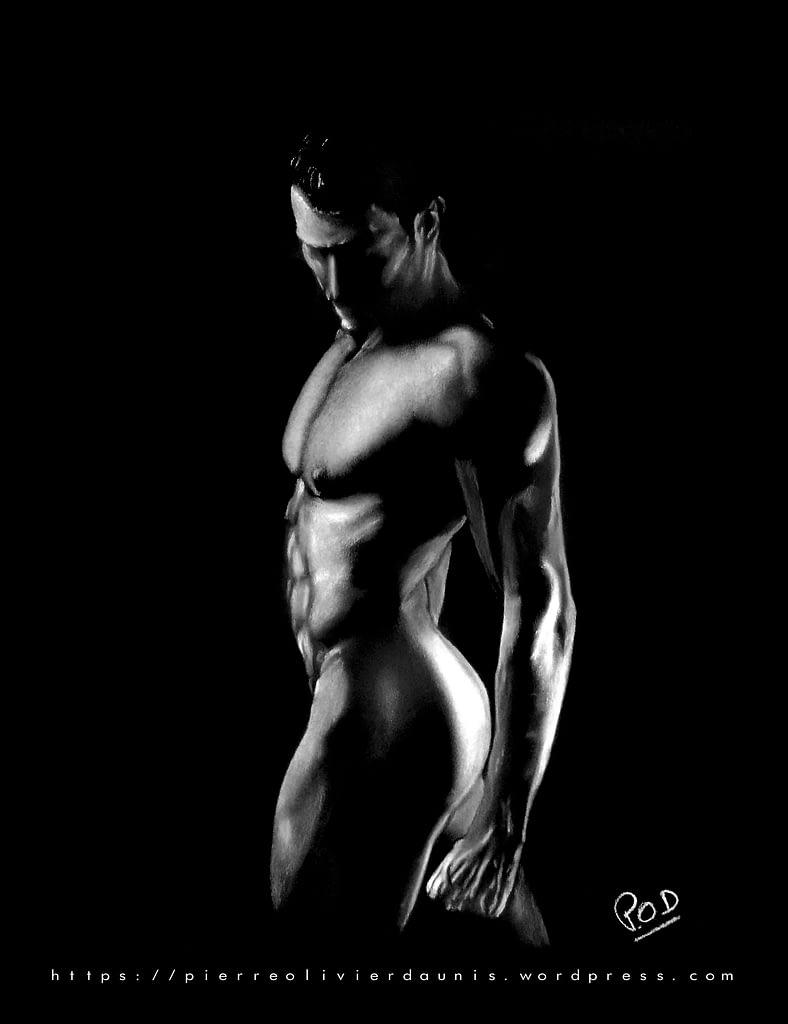 homme nu 9 au pastel sec .naked man painting