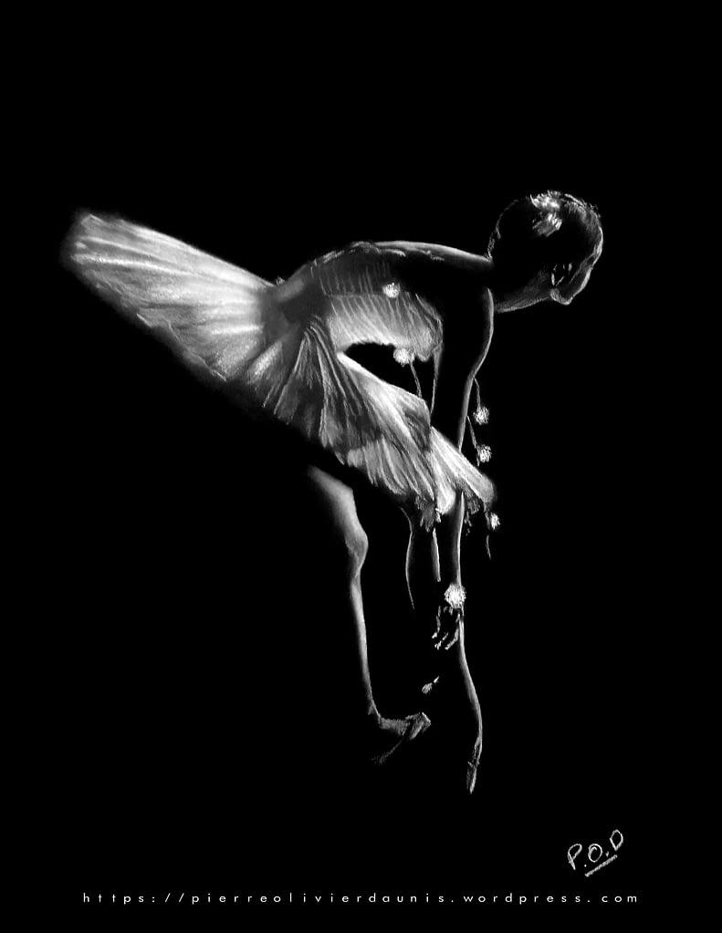 peinture moderne de danseuse classique .danseuse pastel