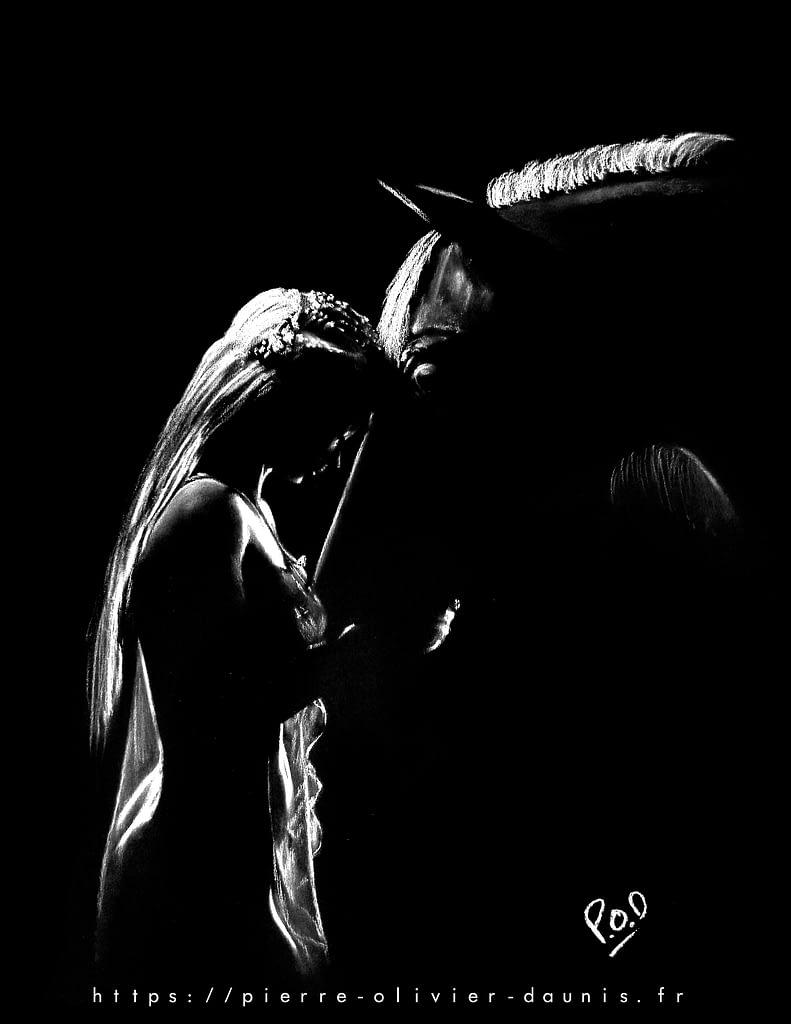 La fille et le cheval 3 au pastel sec