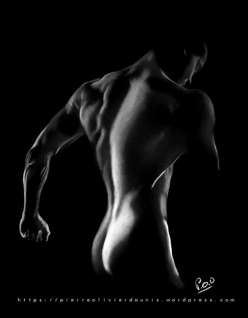 tableau moderne d'homme nu 10 au pastel sec.naked man painting