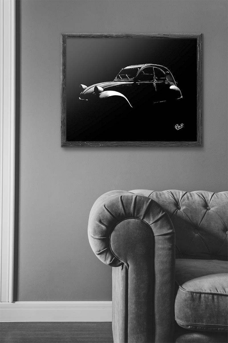 Tableau de 2CV Citroën-Deudeuche-modern-pastel-painting