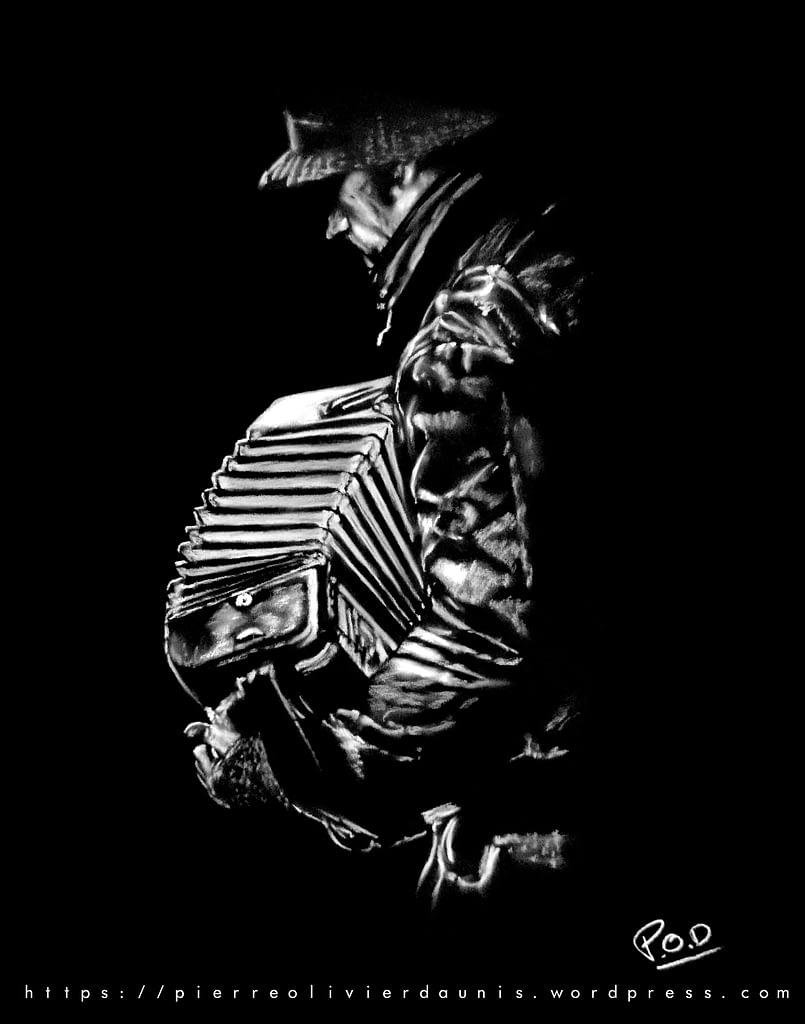 Tableau de musique accordéoniste 2. l'accordéoniste