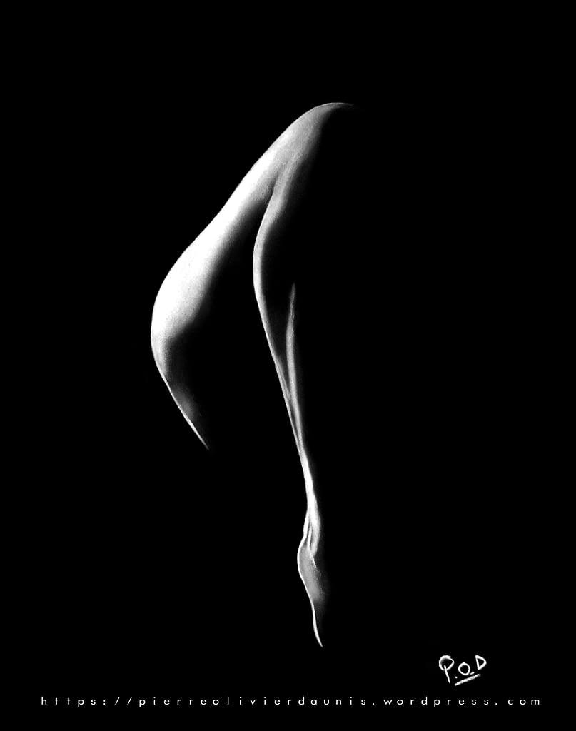 tableau de jambe de femme nue 57-peinture-moderne-au-pastel-sec courbe de femme