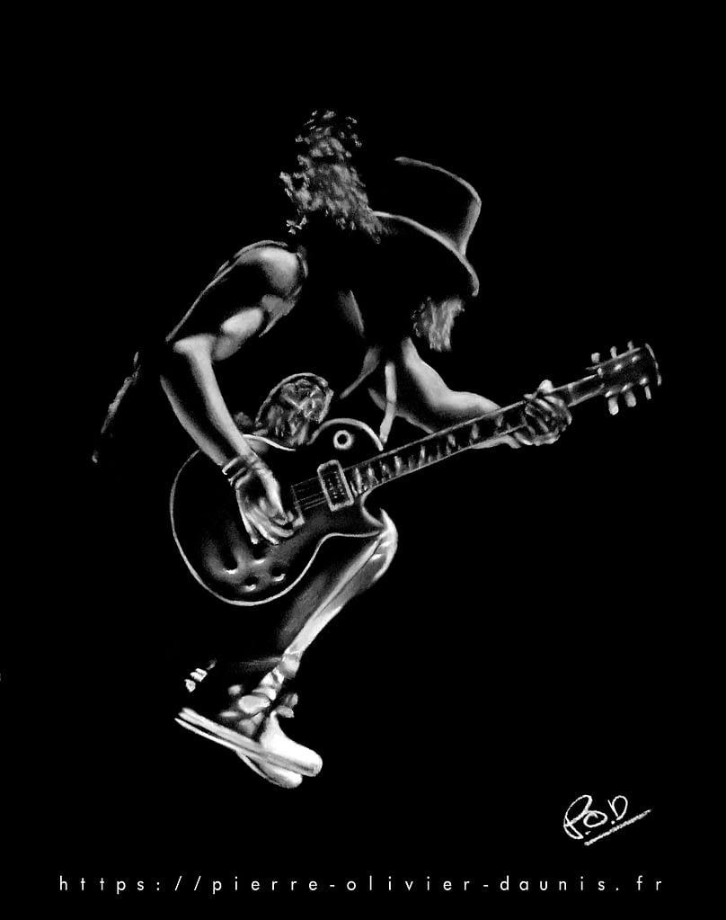 peinture de guitariste Rock N Roll