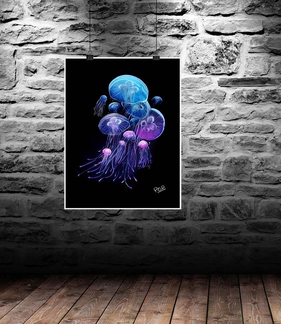 tableau moderne de méduses au pastel sec – fonds marins 1 – medusa painting ocean