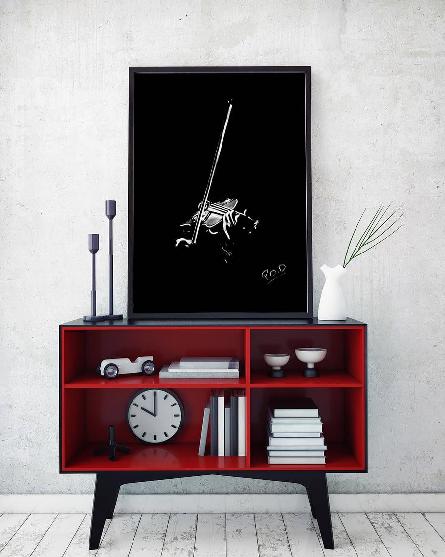 Violoniste 1: tableau moderne peinture au pastel sec . Violonist painting music