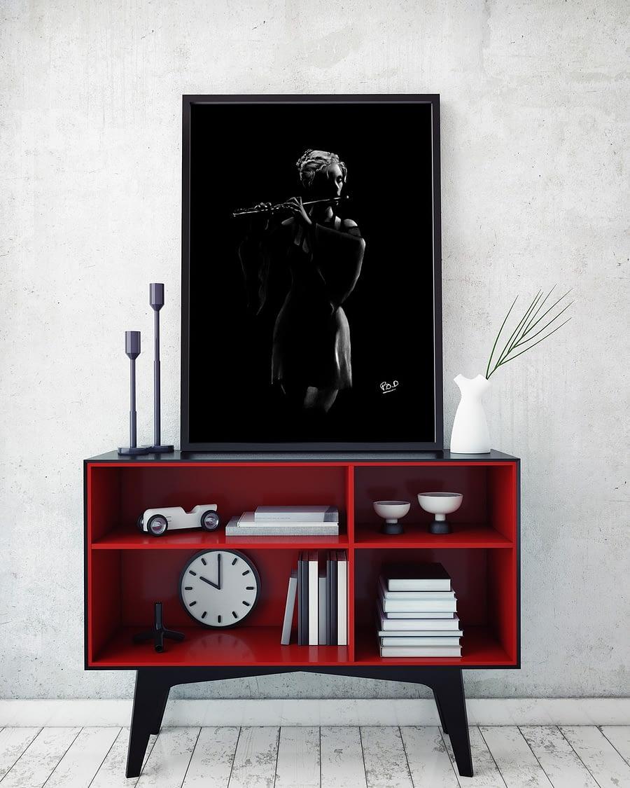 La flutiste tableau moderne peinture au pastel sec . flautist painting music
