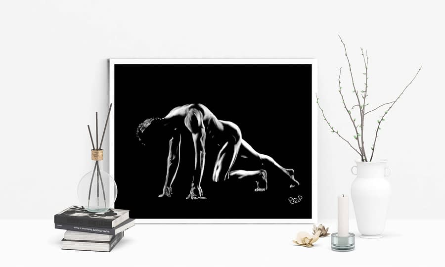 nu artistique masculin – tableau moderne d'homme nu 4 au pastel sec