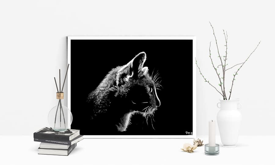 tableau moderne de chat au pastel sec