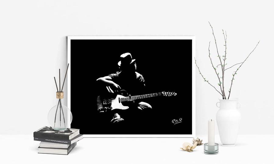 Tableau de guitariste 3 blanc sur fond noir. Guitarist modern painting