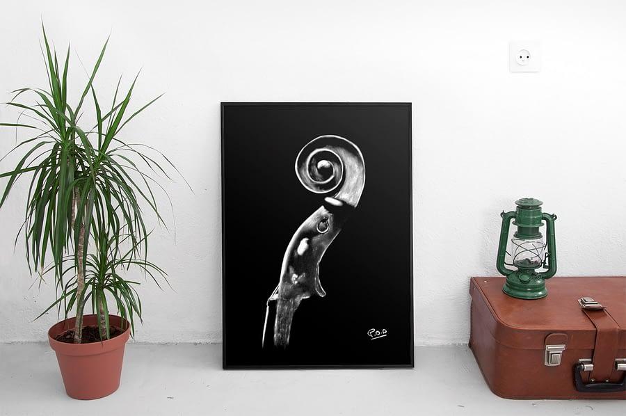 Violoncelle au pastel sec 2. Cello modern painting