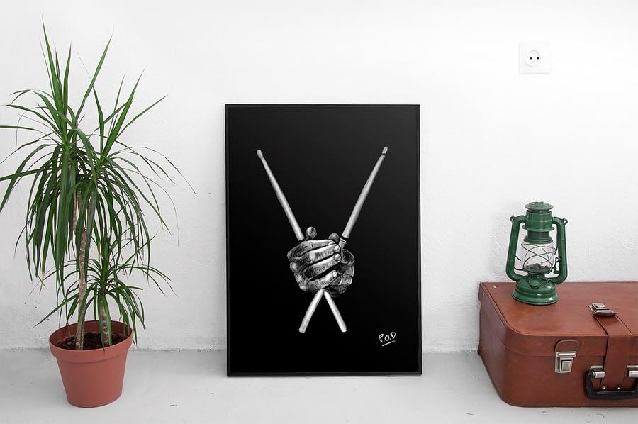 Mains du batteur et baguettes peinture au pastel sec. Drummer hands painting